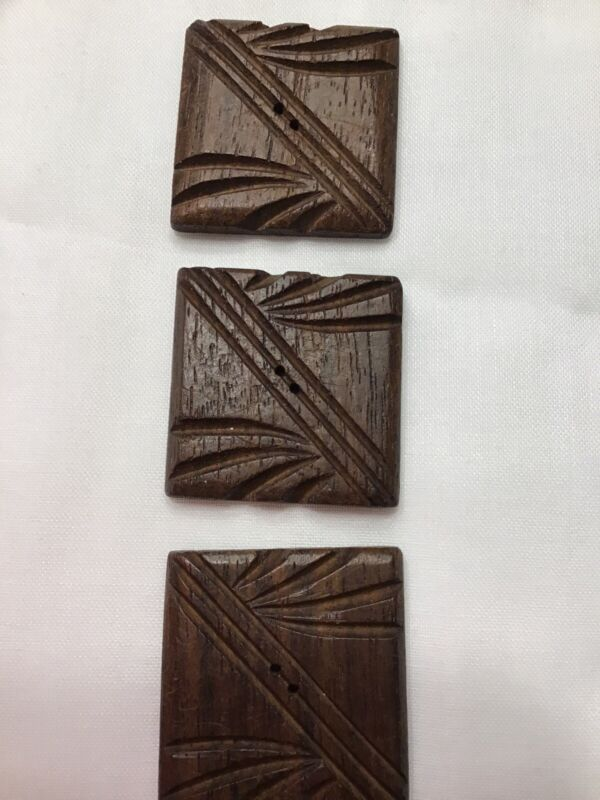 """Buttons (4) Vintage Wood 2 Types of Laminated Wood Handmade 2 Holes 1"""" Square"""