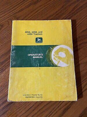 John Deere 4050 4250 4450 Tractors Omrw16851 Operators Manual