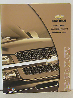 Brochure Catalog Guide - 2003 Chevrolet Trucks Sales Reference Guide  Brochure Catalog New 37 Pages