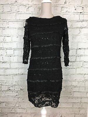 Womens JOHN ZACK Black Frill Lace Detail Backless Party Dress Size 12-14