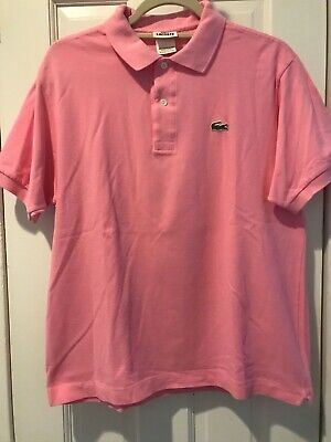 Men's LACOSTE Polo Shirt Size Large L 5 Mens Pink Crocodile Cotton Rugby
