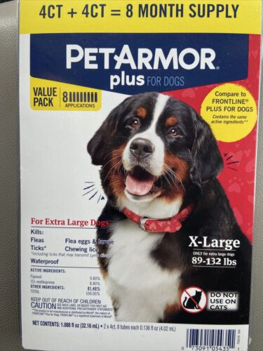 Pet Armor Plus Flea And Tick Prevention For Dogs 89-132lbs 8 Reatments Newdmbx - $39.12