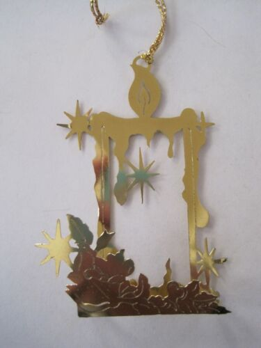 Candle Gold Tone Christmas Ornament