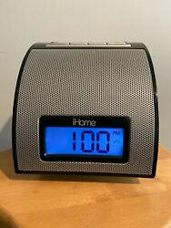 iHome IH11B iPod iPhone Alarm Clock Dock Player - Black w/ aux cord