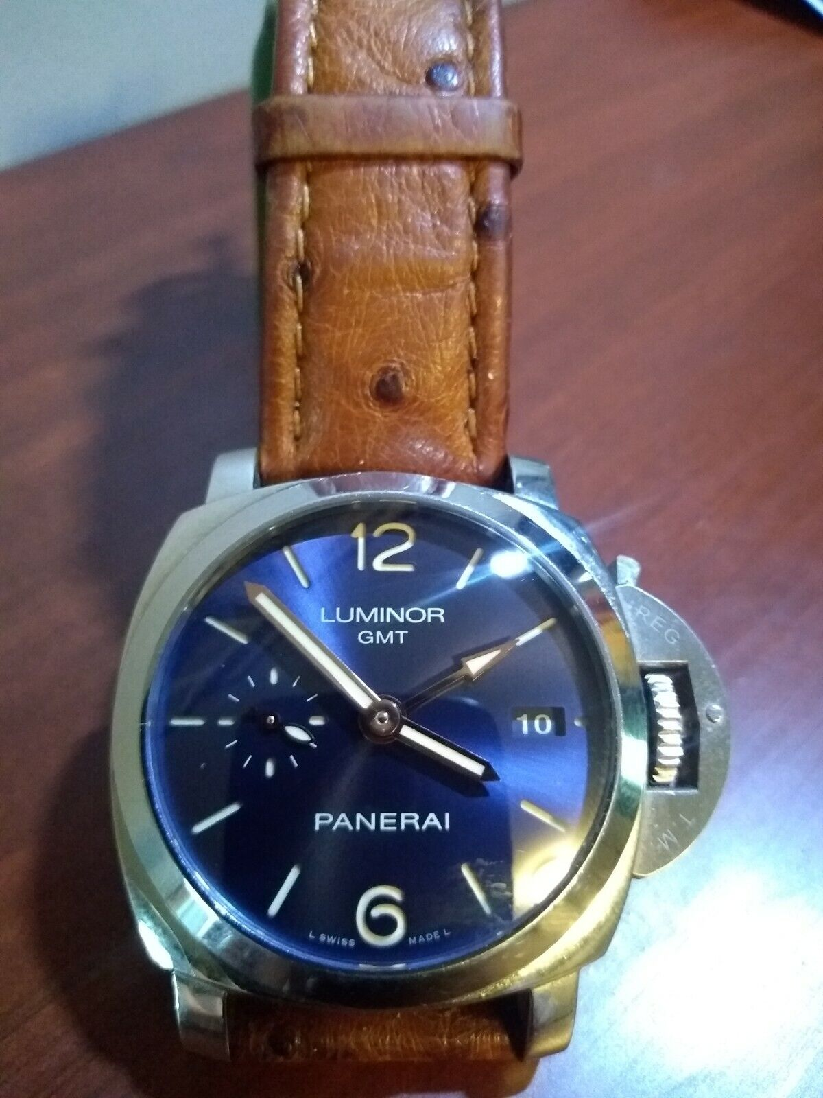 Panerai Luminor GMT Blue Dial / Tan Band – Estate Sale Find / ***No Reserve!*** - watch picture 1
