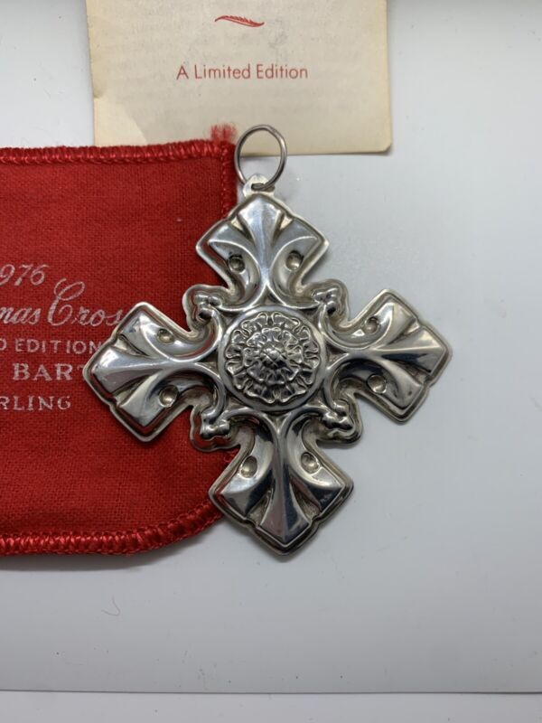 Reed & Barton Sterling Silver Christmas Cross Ornament 1976