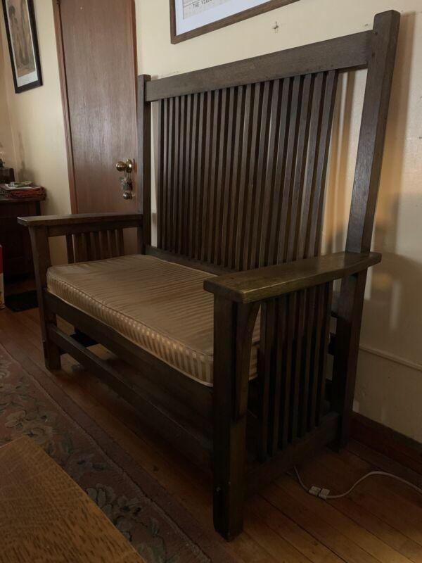 Mission Oak Prairie Hall Settee Bench Arts and Crafts Stickley Era