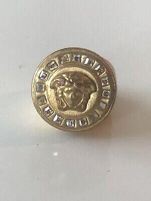 Versace Men's Women's Gold Medusa Crystal Greek Key Logo Ring AUTHENTIC