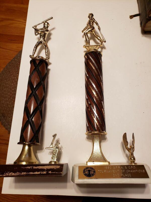 Lot Of 2 Baseball Trophies Awards