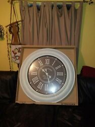 3 feet wide! Oversized Roman Numeral Wall Clock 36 inch - Distressed White/Gray