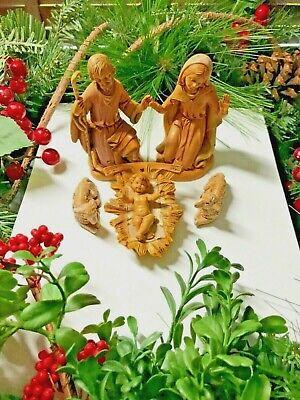 VTG Fontanini Nativity Set Jesus, Mary and Joseph, 2 Lambs+Cradle - BEAUTIFUL!