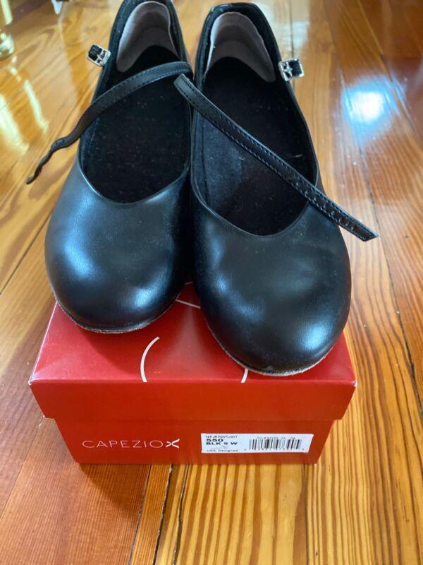 Dance Capezio Jr Footlight Character Tap Shoe-Black Leather-550 Size 9W