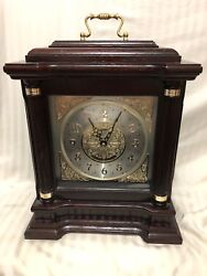 Collectible Seiko Oak & Brass Carriage Mantle Clock with Handle & Gold Accents!!