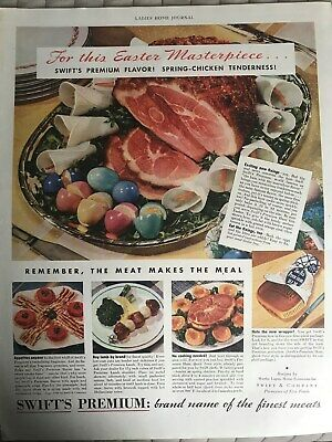 Swift's Premium Ham~For This Easter Masterpiece~1938 Vintage Print AD A54