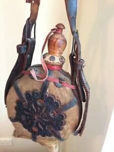 Gourd antique 1908 swiss goat herders in orig excellent cond