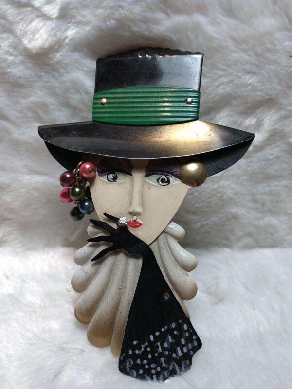 "Vintage Lady Painted Tin Metal Pin Brooch 5"" x 3"""