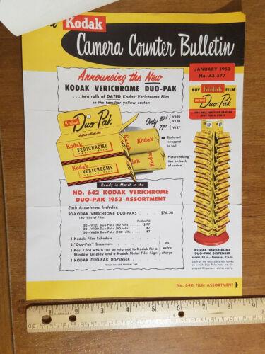 1953 Kodak Camera Counter Bulletin, Verichrome Duo-Pak