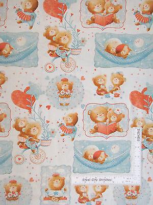 Nursery Baby Fabric - Bear Heart Sleep Time #2954 Studio E Puffy Teddy - Yard ()