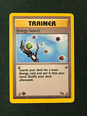 Energy Search 1st Edition 59/62 Fossil Trainer Pokemon wotc