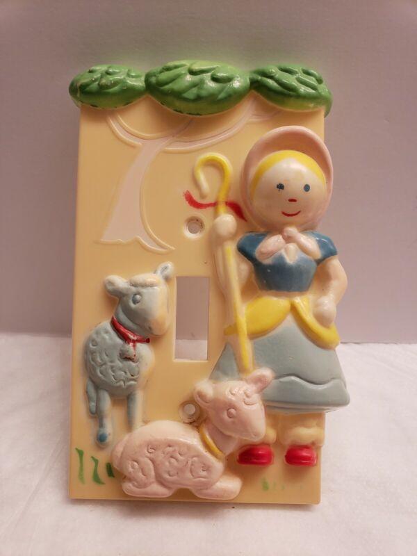 Vintage Little Bo Peep & Sheep Light Switch Plate Cover Hong Kong Baby Nursery