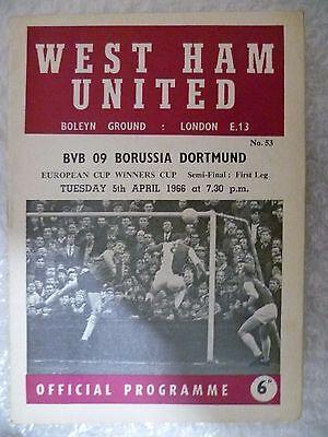 1966 Cup Winners' Cup Semi FINAL WEST HAM UNITED v BVB 09 BORUSSIA DORTMUND,5 Ap