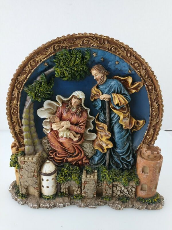 Polyresin Hand Painted Holy Family Sculpture Christmas so Nativity 3D plate