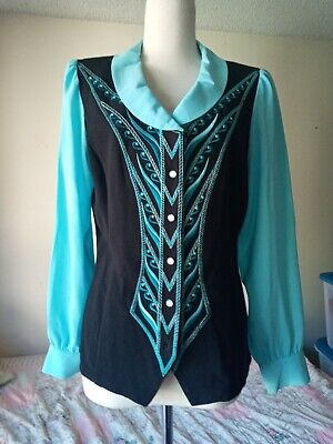 Bob Mackie Wearable Art Button Down Embroidered Top Vest Blouse XS Blue Black
