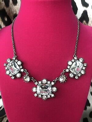 Betsey Johnson Iconic Glam Bow SPARKLY Clear Jewel LARGE Glass Crystal Necklace Large Glam Bow