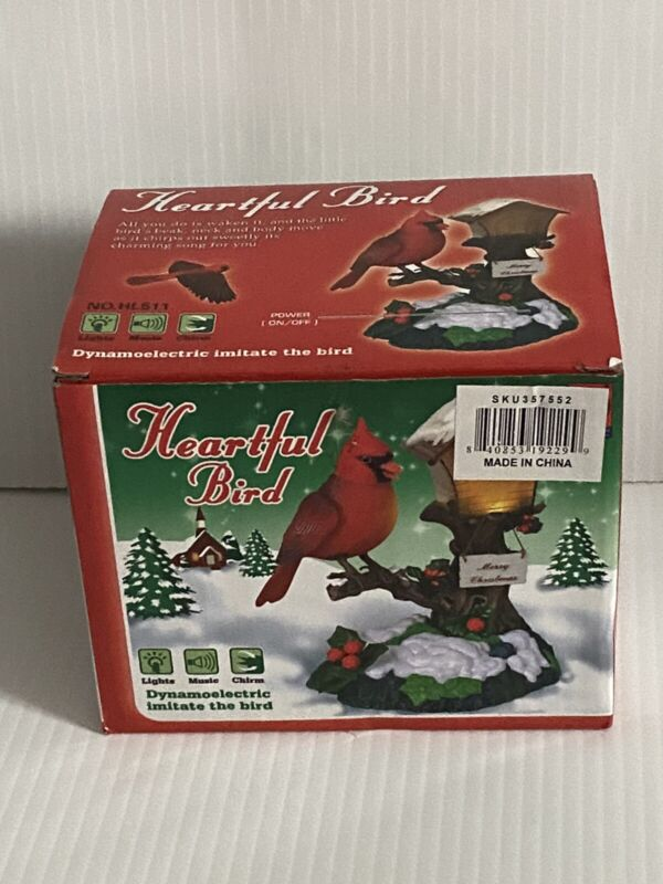 Animated Red Cardinal Bird on a Branch with Bird House & Merry Christmas Sign