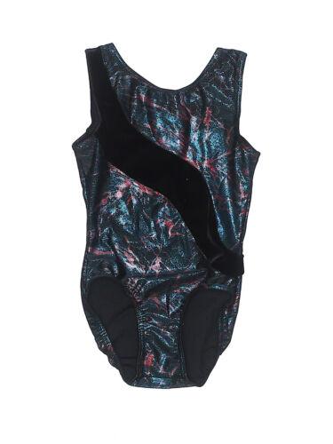 Girl Mondor Green Black Foil Dance Gymnastic Leotard Size 6X/7