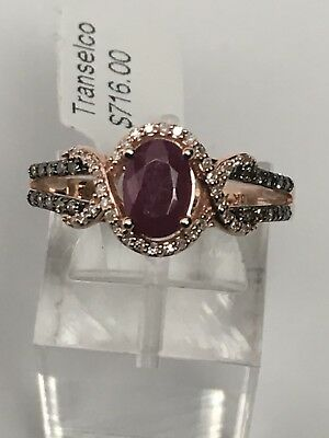 10K Rose Gold Oval Shape Ruby Ring with 0.20ct Champagne and White Diamond Band  Oval Shape Ruby Ring