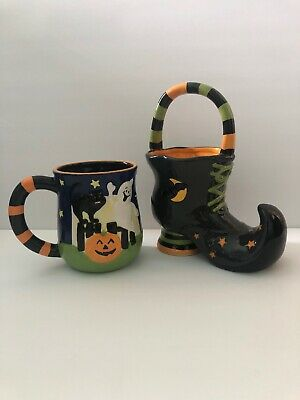 Set Of 2 Halloween WITCH shoe boot bowl candy dish & Mug ceramic HANDLES