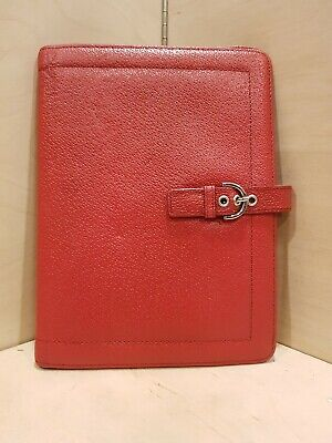 Franklin Covey Red Genuine Leather Notepad Organizer Folder 9.5 X 7