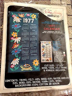 VINTAGE EDNA LOONEY JEWELED FELT FLOWERS TURTLE & BUTTERFLY '77 CALENDAR KIT NIP - Felt Jeweled Calendars