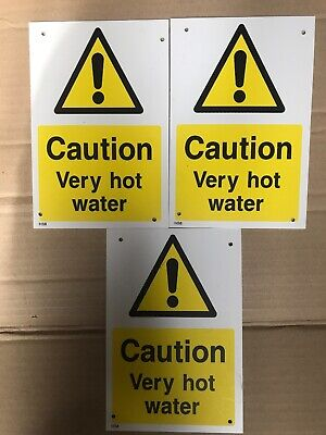 50mm x 75mm Seco Caution Hot Water Sign Pack of 5 - 1mm Semi Rigid Plastic