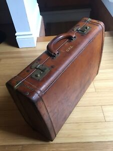 ANTIQUE LEATHER SUITCASE VINTAGE INDUSTRIAL STORAGE CASE