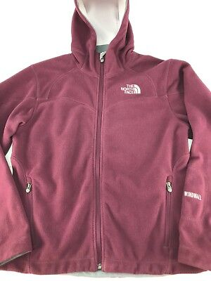 The North Face Women's WindWall Jacket Size Small Micro Fleece Hooded Mulberry