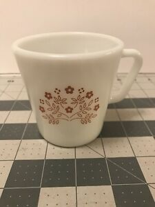 Pyrex Corelle Summer Impressions Ginger Brown Milk Glass Coffee Mug
