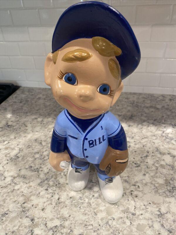 Baseball Player Bill Team Smiley Boy Ceramic Atlantic Mold Figurine 1970 Vintage