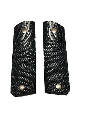 1911 Exotic Leather Grips - BLACK LIZARD