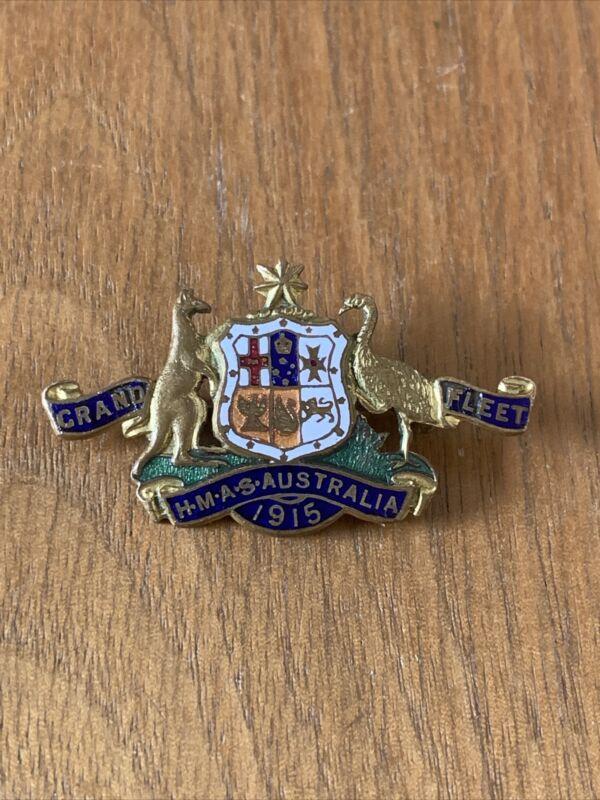 HMAS Australia 1915 Grand Fleet Enamel Sweetheart Pin Badge/Brooch