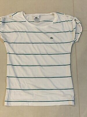 Lacoste Women Crew Neck Cute T-shirt Loose Top Size 36 Small