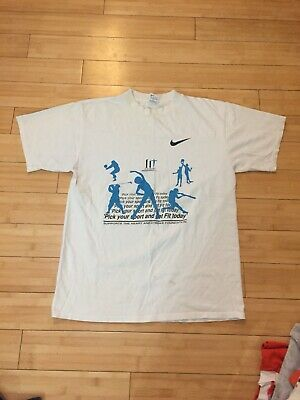 Vintage 1990s Nike Get Fit Foundation Against Heart Attack And Stroke T Shirt Foundation Fitted T-shirt