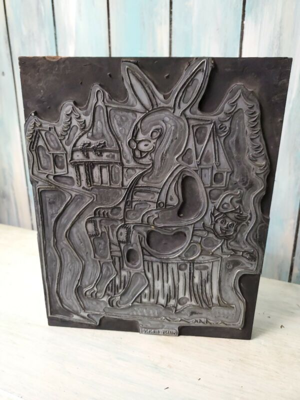 woodblock ink print plate bunny rabbit coloring book color book 8x10 antique
