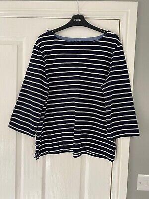 ladies nautica XL (size 16 Approx) navy/white striped 3/4 sleeved top