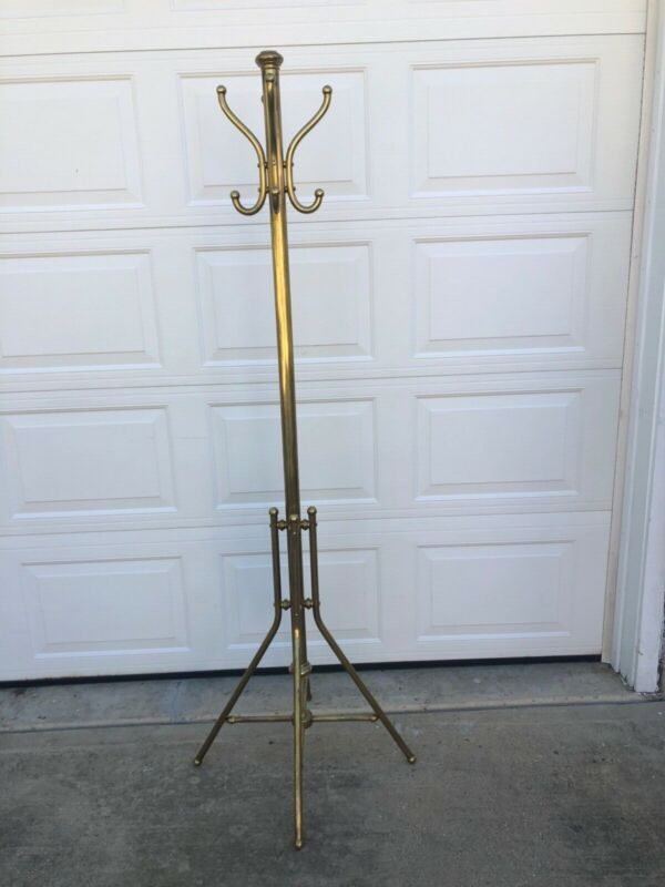 "71"" vintage brass coat and hat rack/tree"