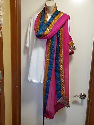Vintage Scarf Styles -1920s to 1960s Vintage Indian Cotton Silk Chiffon Handmade Dupatta Scarf Multicolored Beaded  $16.00 AT vintagedancer.com