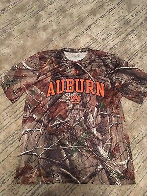 Auburn Tigers Under Armour Green Heatgear Camo Loose SS Performance T-Shirt (L) Auburn Tigers Green