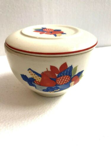 "Vtg Universal Potteries Small Bowl With Lid Calico Fruit 3"" Tall 4 1/4"" Diameter"