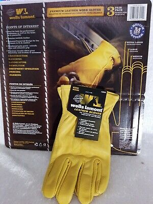 Nwt Wells Lamont Mens Premium Leather Work Gloves. Size Medium.